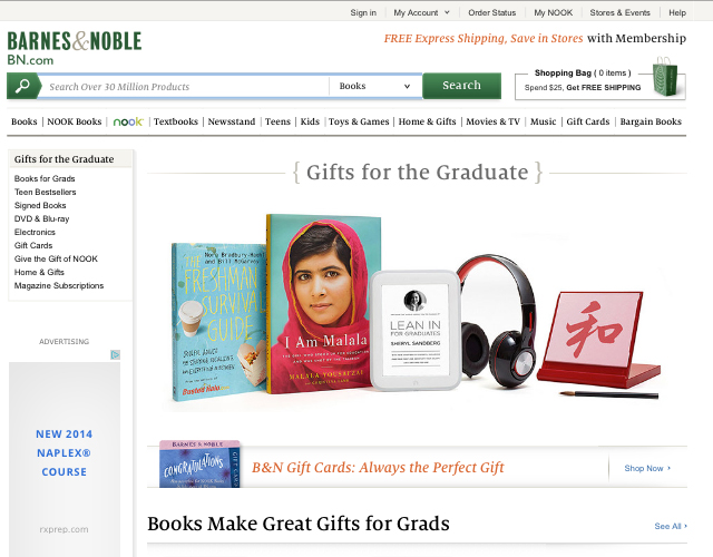 The Freshman Survival Guide featured on Barnes & Noble's Homepage
